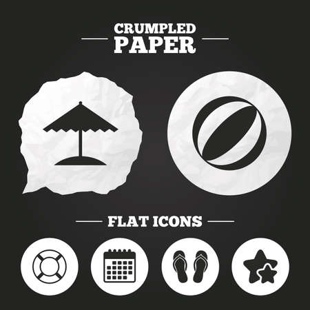 crumpled paper ball: Crumpled paper speech bubble. Beach holidays icons. Ball, umbrella and flip-flops sandals signs. Lifebuoy symbol. Paper button. Vector Illustration