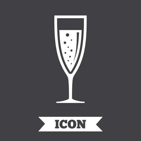champagne celebration: Glass of champagne sign icon. Sparkling wine with bubbles. Celebration or banquet alcohol drink symbol. Graphic design element. Flat champagne glass symbol on dark background. Vector