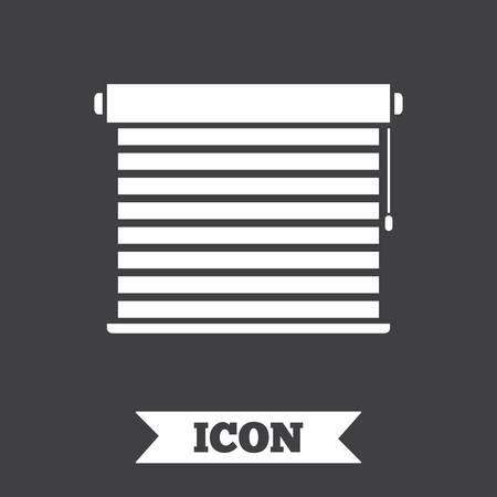 jalousie: Louvers sign icon. Window blinds or jalousie symbol. Graphic design element. Flat louvers symbol on dark background. Vector