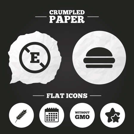 stabilizers: Crumpled paper speech bubble. Food additive icon. Hamburger fast food sign. Gluten free and No GMO symbols. Without E acid stabilizers. Paper button. Vector