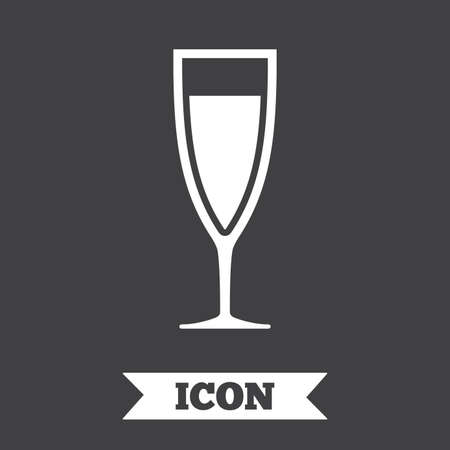champagne celebration: Glass of champagne sign icon. Sparkling wine. Celebration or banquet alcohol drink symbol. Graphic design element. Flat champagne symbol on dark background. Vector