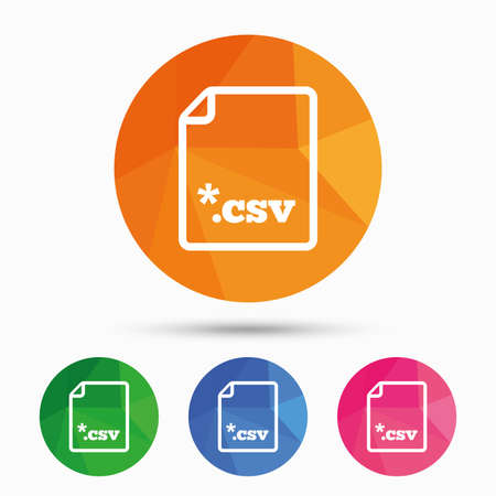 File document icon. Download tabular data file button. CSV file extension symbol. Triangular low poly button with flat icon. Vector