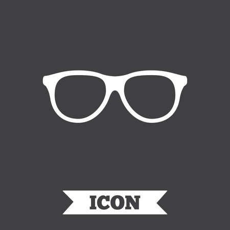 eyeglass: Retro glasses sign icon. Eyeglass frame symbol. Graphic design element. Flat glasses symbol on dark background. Vector Illustration