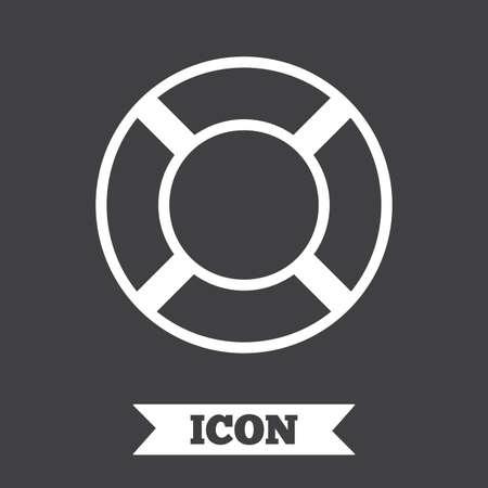 salvation: Lifebuoy sign icon. Life salvation symbol. Graphic design element. Flat lifebuoy symbol on dark background. Vector Illustration