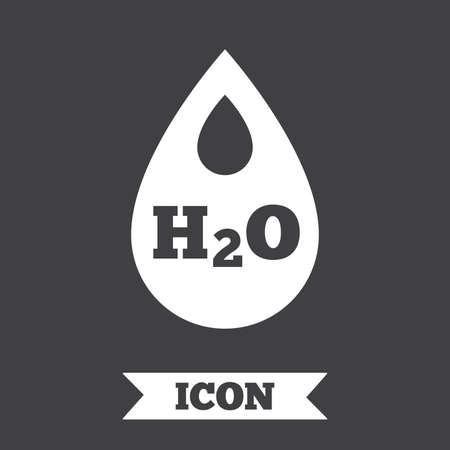 h2o: H2O Water drop sign icon. Tear symbol. Graphic design element. Flat water symbol on dark background. Vector