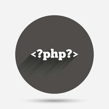 php: PHP sign icon. Programming language symbol. Circle flat button with shadow. Vector