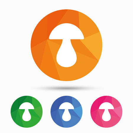 cep: Mushroom sign icon. Boletus mushroom symbol. Triangular low poly button with flat icon. Vector