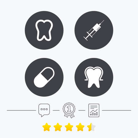enamel: Tooth enamel protection icons. Medical syringe and pill signs. Medicine injection symbol. Chat, award medal and report linear icons. Star vote ranking. Vector