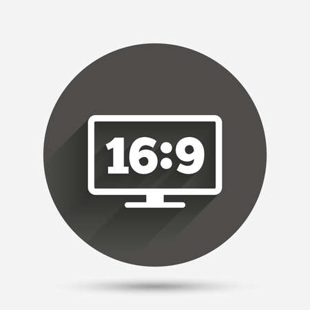 aspect: Aspect ratio 16:9 widescreen tv sign icon. Monitor symbol. Circle flat button with shadow. Vector