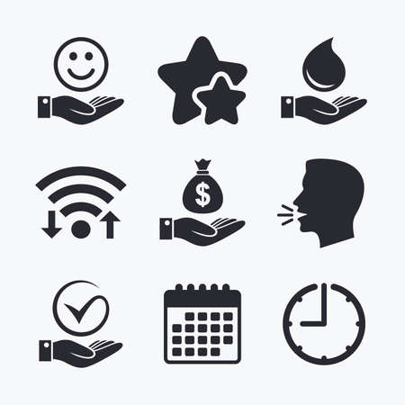 internet buttons: Smile and hand icon. Water drop and Tick or Check symbol. Palm holds Dollar money bag. Wifi internet, favorite stars, calendar and clock. Talking head. Vector Illustration