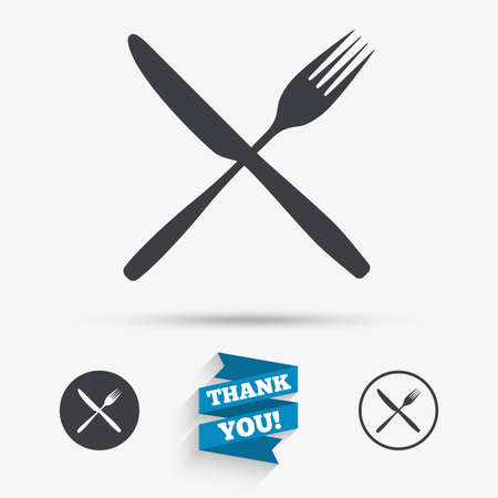crosswise: Eat sign icon. Cutlery symbol. Fork and knife crosswise. Flat icons. Buttons with icons. Thank you ribbon. Vector Illustration