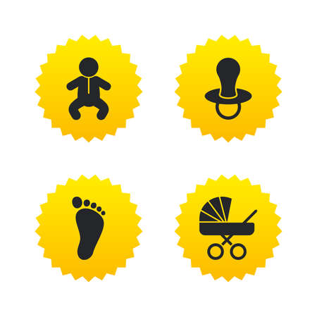 diapers: Baby infants icons. Toddler boy with diapers symbol. Buggy and dummy signs. Child pacifier and pram stroller. Child footprint step sign. Yellow stars labels with flat icons. Vector