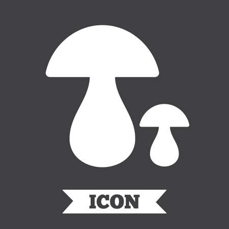boletus mushroom: Mushroom sign icon. Boletus mushroom symbol. Graphic design element. Flat mushroom symbol on dark background. Vector