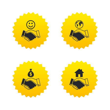 amicable: Handshake icons. World, Smile happy face and house building symbol. Dollar cash money bag. Amicable agreement. Yellow stars labels with flat icons. Vector Illustration