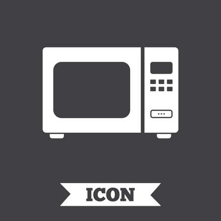 microwave stove: Microwave oven sign icon. Kitchen electric stove symbol. Graphic design element. Flat microwave symbol on dark background. Vector