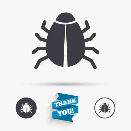 disinfection: Bug sign icon. Virus symbol. Software bug error. Disinfection. Flat icons. Buttons with icons. Thank you ribbon. Vector