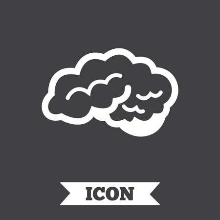 neurology: Brain with cerebellum sign icon. Human intelligent smart mind. Graphic design element. Flat neurology symbol on dark background. Vector