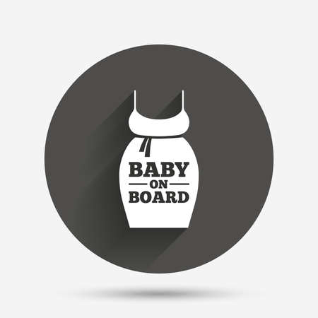 big breast: Pregnant woman dress sign icon. Baby on board. Maternity clothing symbol Circle flat button with shadow. Vector