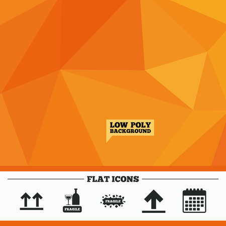 brittle: Triangular low poly orange background. Fragile icons. Delicate package delivery signs. This side up arrows symbol. Calendar flat icon. Vector Illustration