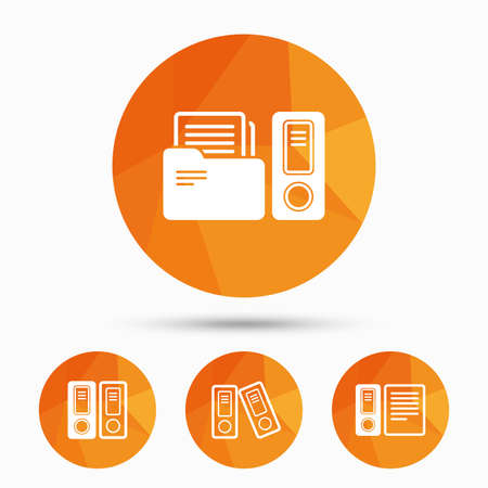 Accounting icons. Document storage in folders sign symbols. Triangular low poly buttons with shadow. Vector Vektorové ilustrace