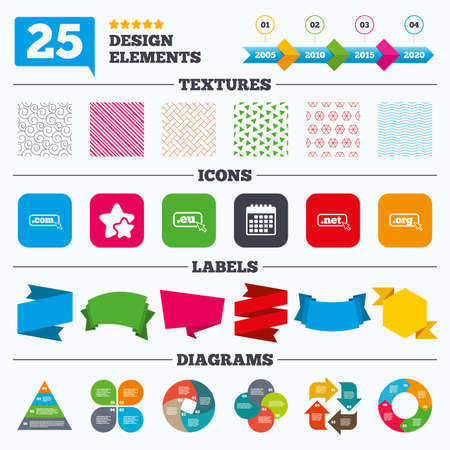 dns: Offer sale tags, textures and charts. Top-level internet domain icons. Com, Eu, Net and Org symbols with cursor pointer. Unique DNS names. Sale price tags. Vector