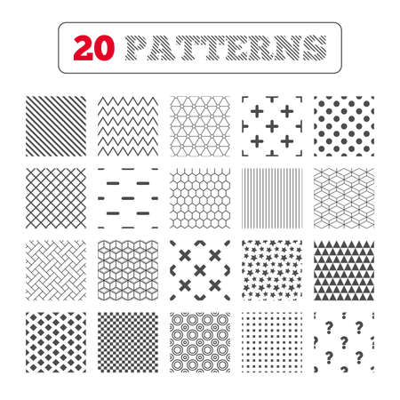 enlarge: Ornament patterns, diagonal stripes and stars. Plus and minus icons. Delete and question FAQ mark signs. Enlarge zoom symbol. Geometric textures. Vector Illustration