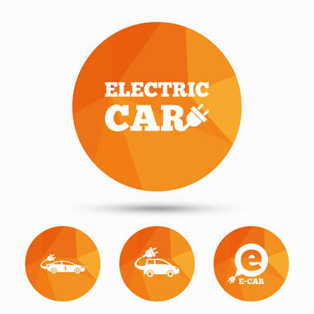 hatchback: Electric car icons. Sedan and Hatchback transport symbols. Eco fuel vehicles signs. Triangular low poly buttons with shadow. Vector