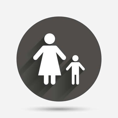 one child: One-parent family with one child sign icon. Mother with son symbol. Circle flat button with shadow. Vector Illustration