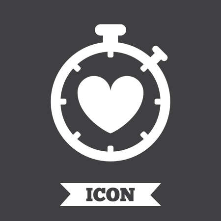 palpitation: Heart Timer sign icon. Stopwatch symbol. Heartbeat palpitation. Graphic design element. Flat heart timer symbol on dark background. Vector Illustration