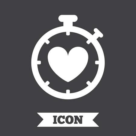 palpitation: Heart Timer sign icon. Stopwatch symbol. Heartbeat palpitation. Graphic design element. Flat heart timer symbol on dark background. Vector Illustration