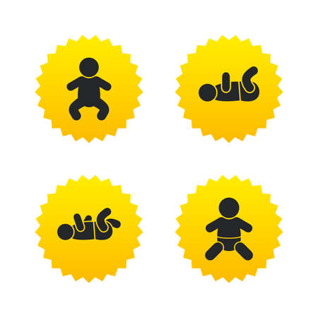 toddler: Newborn icons. Baby infant or toddler symbols. Child silhouette. Yellow stars labels with flat icons. Vector Illustration