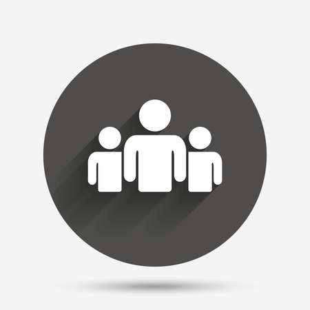 shadow people: Group of people sign icon. Share symbol. Circle flat button with shadow. Vector