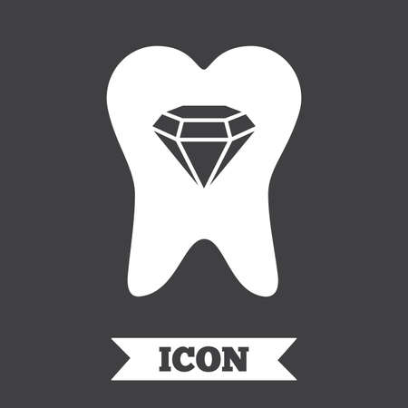 prestige: Tooth crystal icon. Tooth jewellery sign. Dental prestige symbol. Graphic design element. Flat tooth symbol on dark background. Vector Illustration