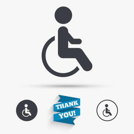 handicapped: Disabled sign icon. Human on wheelchair symbol. Handicapped invalid sign. Flat icons. Buttons with icons. Thank you ribbon. Vector