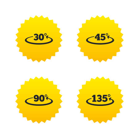 Angle 30-135 degrees icons. Geometry math signs symbols. Full complete rotation arrow. Yellow stars labels with flat icons. Vector Illusztráció