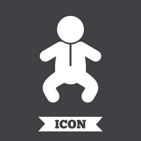 crawlers: Baby infant sign icon. Toddler boy in pajamas or crawlers body symbol. Child WC toilet. Graphic design element. Flat toddler boy symbol on dark background. Vector Illustration