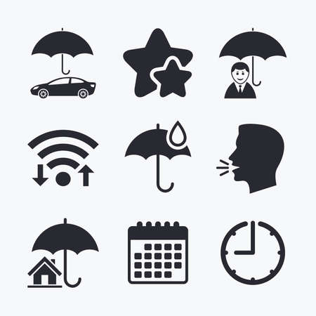 head protection: Life, Real estate or Home insurance icons. Umbrella with water drop symbol. Car protection sign. Wifi internet, favorite stars, calendar and clock. Talking head. Vector