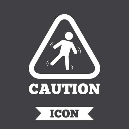 slippery floor: Caution wet floor sign icon. Human falling triangle symbol. Graphic design element. Flat slippery floor symbol on dark background. Vector Illustration