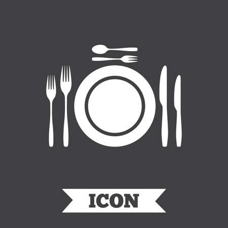 etiquette: Plate dish with forks and knifes. Dessert trident fork with teaspoon. Eat sign icon. Cutlery etiquette rules symbol. Graphic design element. Flat cutlery symbol on dark background. Vector