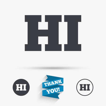 hindi: Hindi language sign icon. HI India translation symbol. Flat icons. Buttons with icons. Thank you ribbon. Vector