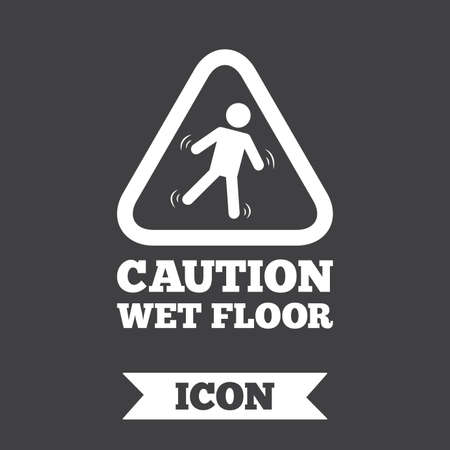 slippery: Caution wet floor sign icon. Human falling triangle symbol. Graphic design element. Flat slippery floor symbol on dark background. Vector Illustration