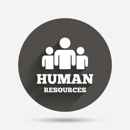 shadow people: Human resources sign icon. HR symbol. Workforce of business organization. Group of people. Circle flat button with shadow. Vector