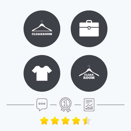 cloakroom: Cloakroom icons. Hanger wardrobe signs. T-shirt clothes and baggage symbols. Chat, award medal and report linear icons. Star vote ranking. Vector