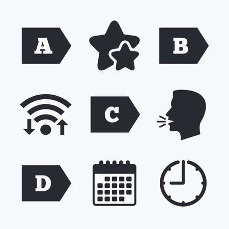 internet class: Energy efficiency class icons. Energy consumption sign symbols. Class A, B, C and D. Wifi internet, favorite stars, calendar and clock. Talking head. Vector Illustration