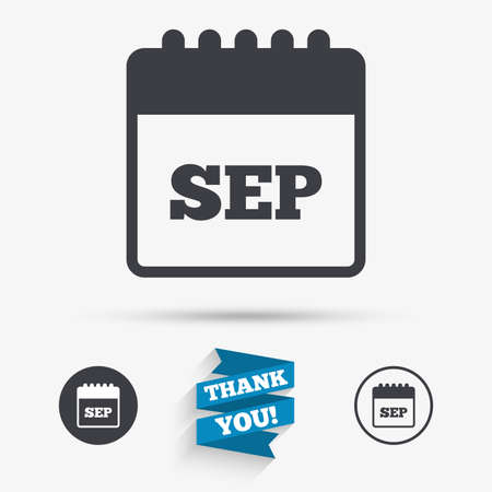 sep: Calendar sign icon. September month symbol. Flat icons. Buttons with icons. Thank you ribbon. Vector