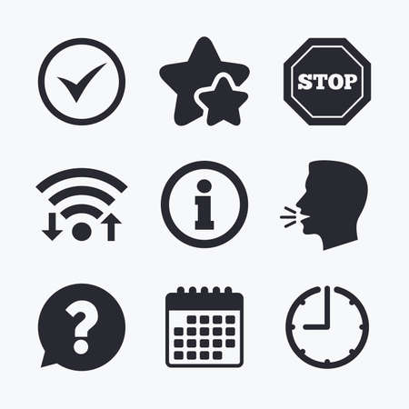 internet mark: Information icons. Stop prohibition and question FAQ mark speech bubble signs. Approved check mark symbol. Wifi internet, favorite stars, calendar and clock. Talking head. Vector Illustration