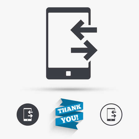 outcoming: Incoming and outcoming calls sign icon. Smartphone symbol. Flat icons. Buttons with icons. Thank you ribbon. Vector