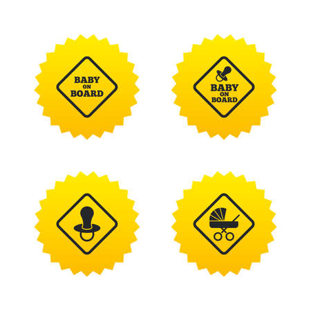 buggy: Baby on board icons. Infant caution signs. Child buggy carriage symbol. Yellow stars labels with flat icons. Vector