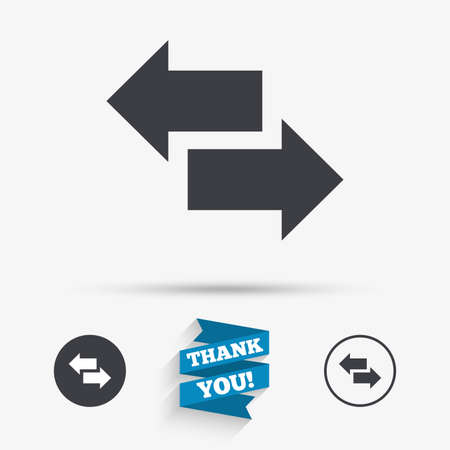 outgoing: Incoming and outgoing calls sign. Upload. Download arrow symbol. Flat icons. Buttons with icons. Thank you ribbon. Vector