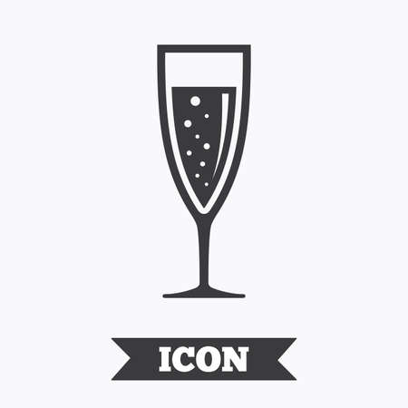 champagne celebration: Glass of champagne sign icon. Sparkling wine with bubbles. Celebration or banquet alcohol drink symbol. Graphic design element. Flat champagne glass symbol on white background. Vector